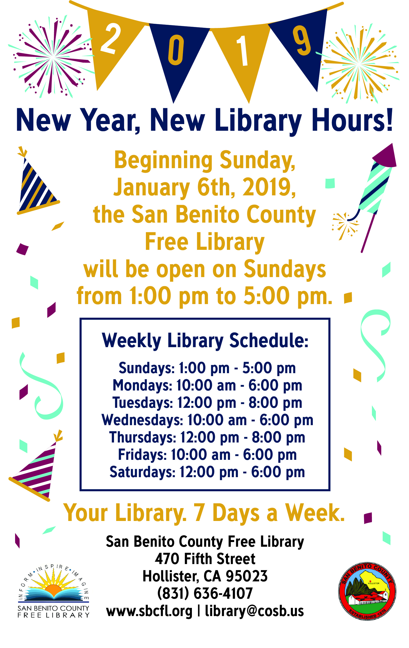 Library Open 1pm - 5pm